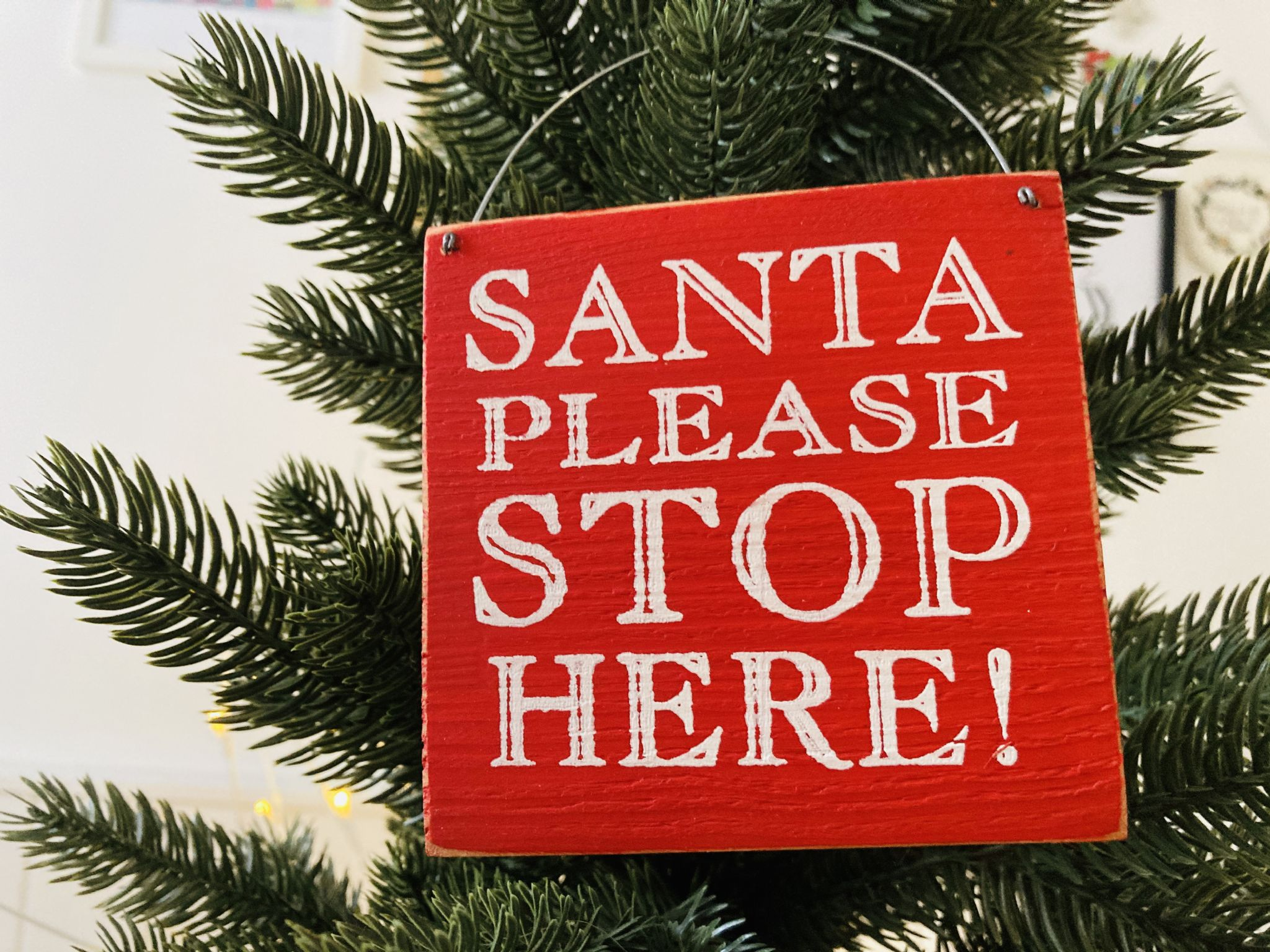 Santa Please Stop Here Rustic Red Wooden Decoration Sign