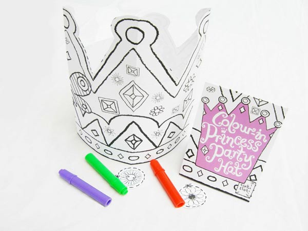 Color-in Princess Party Hat
