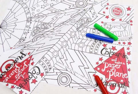 Colour in Placemat - Paper Plane