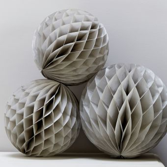 Grey Paper Honeycomb Paper Balls, Set of 3