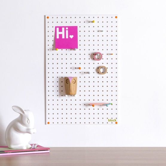 Medium Block Wooden Pegboard with Pegs  - White
