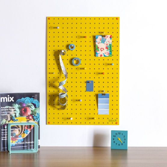 Medium Block Wooden Pegboard with Pegs  - Yellow